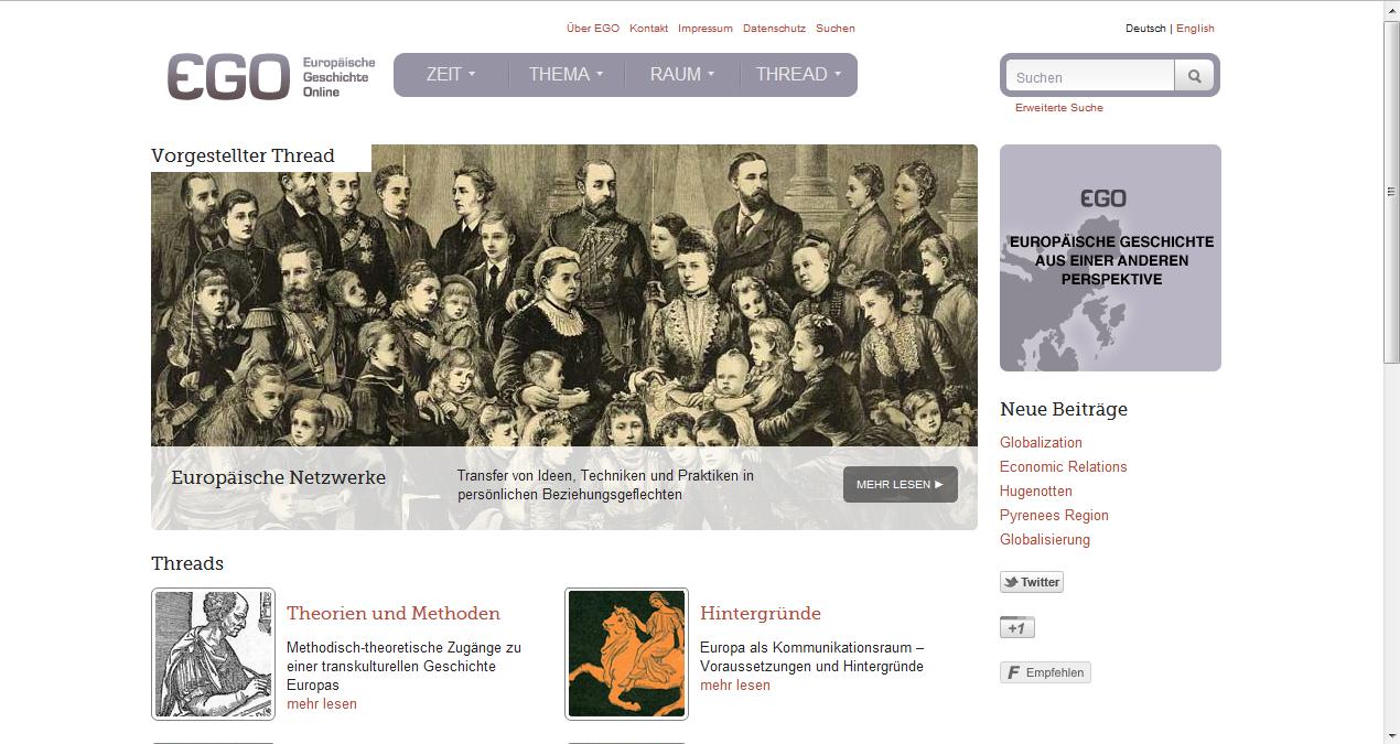 Screenshot Europäische Geschichte Online