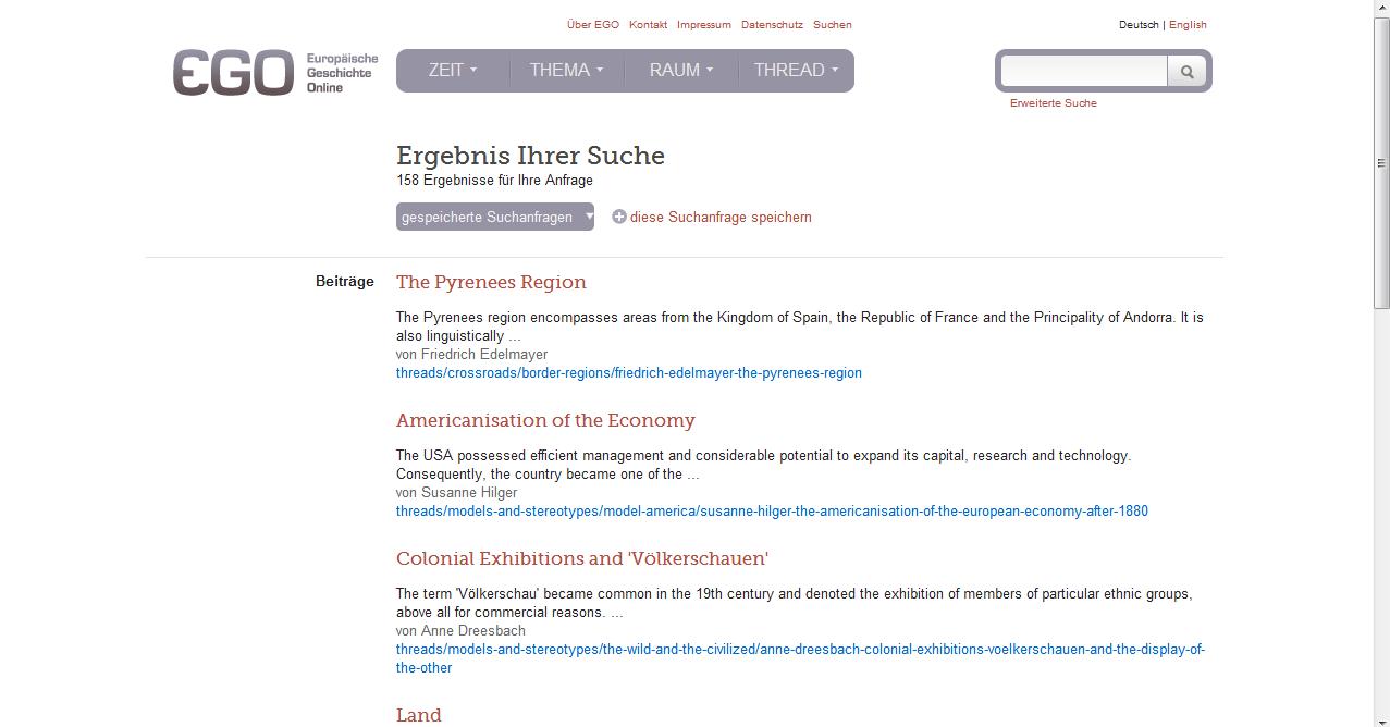 Screenshot Europäische Geschichte Online (Menüsuche)