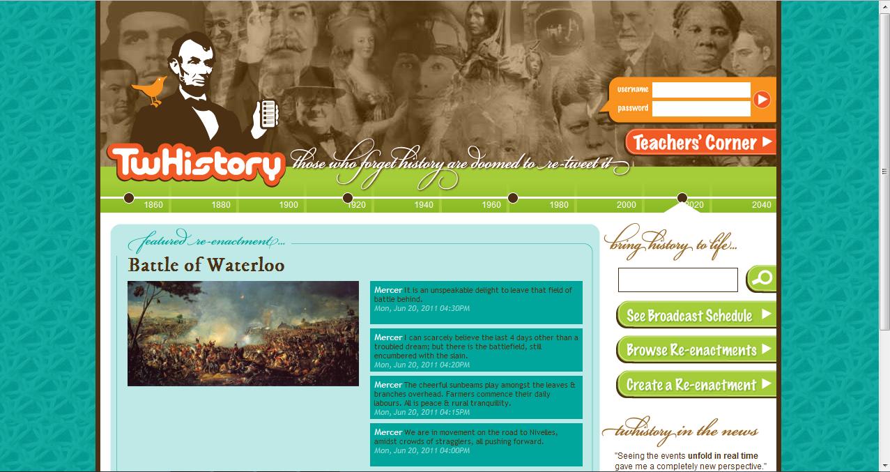 Screenshot twhistory.org