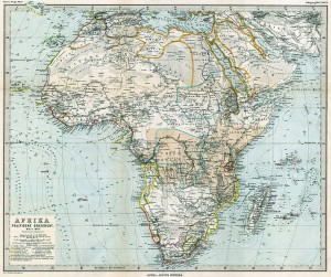 Zum Vergleich der Ikonografie eine 1885 (direkt nach der Kongokonferenz) Herausgegebene Karte, in der die jeweiligen europäischen Ansprüche farbig markiert wurden.