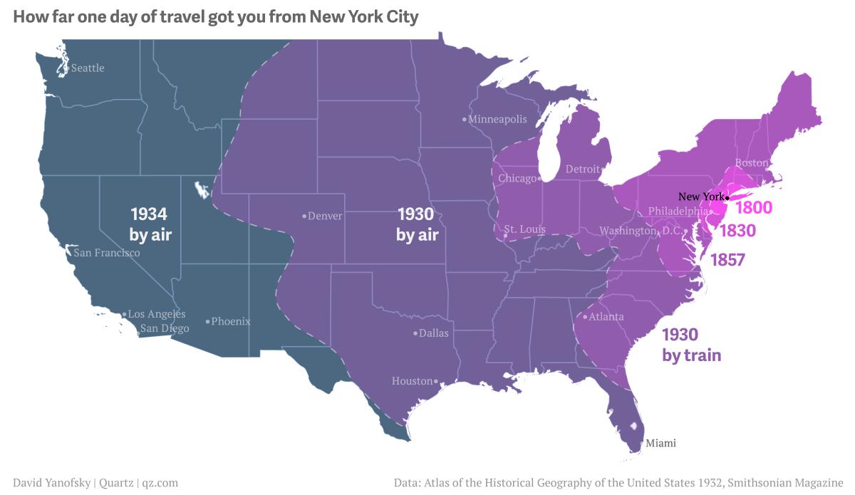 Historischer Atlas: Wie weit kommt man mit einer Tagesreise ab New York?